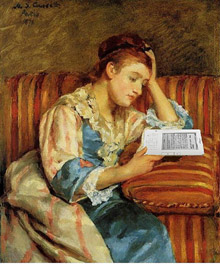Lady reading Kindle