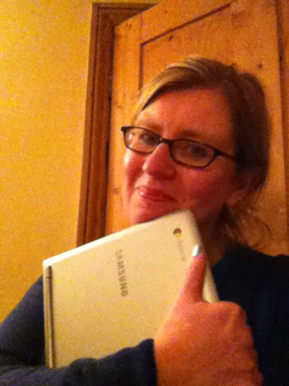 Joanne Mallon and Chromebook